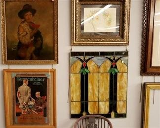 Leaded Glass, Vintage ad, signed Oil on Canvas & Watercolor