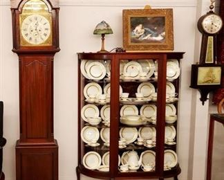 Grandfather clock by J. Cameron & Son, Curved Glass China Cabinet, Wedgwood, Porcelain Plaque, Reverse Painted Lamp