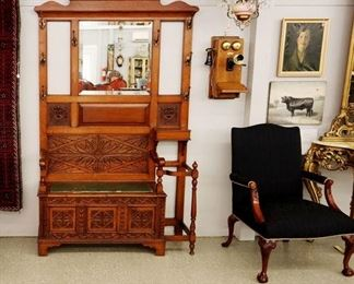 Carved Oak Bench with Mirror, Oak Wall Phone, Goodman Self Portrait