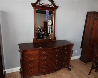 5. Large Mahogany Chippendale Dresser wMirror by Lexington