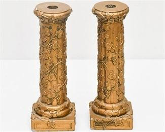 8. Pair of Antiqued Goldtone Candlesticks
