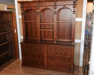 9. Antiques Roadshow Maple Apothecary Style Bookcase wDrawers