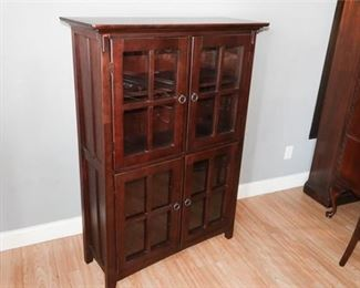 10. Arts Crafts Mission Style Book Case wGlass Panel Doors