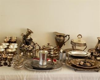 4 Pewter Silver and Silver Plate