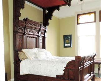 VICTORIAN HALF TESTER CARVED BED