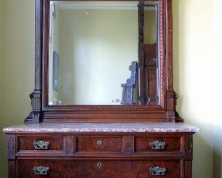 VICTORIAN MARBLE TOP DRESSER AND MIRROR