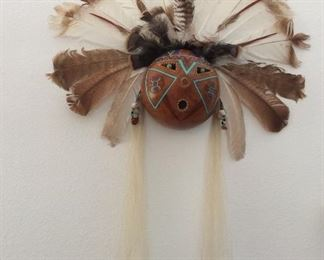 Gourd mask with feathers Zuni