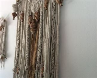 Large Mexican wall hanging with fabric and pottery, macrame