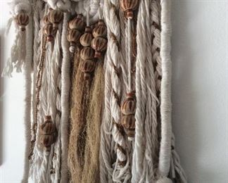 Smaller Mexican wall hanging with pottery, hemp.  Macrame