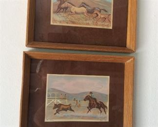 Steer roping and running horses art