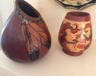 Native American gourd vase and pottery vase