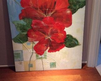 Large, contemporary red flower art