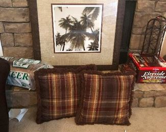 framed palm trees, throw pillows with sideburns
