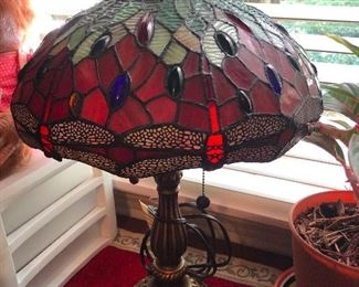 Tiffany style stained-glass lamp in harlot red (my favorite color)