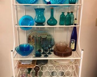 Bakers rack, blue glass