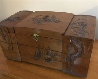 Gorgeous carved jewelry box.