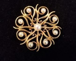 14K Gold & Cultured Pearl Brooch/Pendant