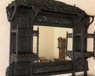 Antique Chinese caved and pierced shelf with large inset  mirror