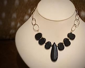 Boho chic vintage black resin and silver necklace