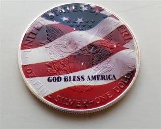 Colorized American Silver Eagle