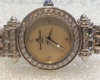 Authentic Baume & Mercier 18k white gold, diamonds and Mother of Pearl watch in original box - pristine!