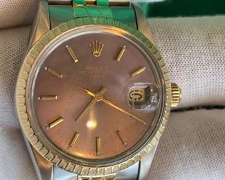 Genuine Rolex Oyster Perpetual Date with 18k/SS dial and band and RARE grape dial. Recently serviced in Rolex box