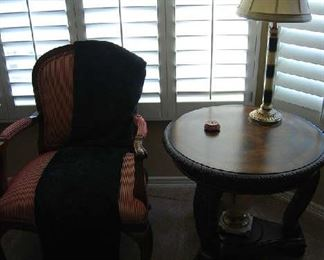 SIDE CHAIR, OCCASIONAL TABLE, TABLE LAMP