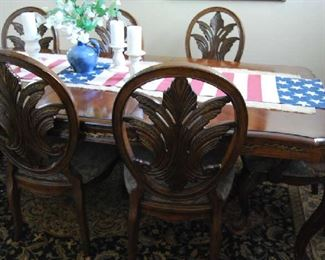 FORMAL DINING TABLE WITH 8 CHAIRS, AREA RUG