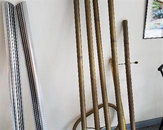 Brass rails from a bar.