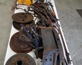 Table full of 1949 Chevrolet truck parts. What you see is what you get. Sold as is where is.