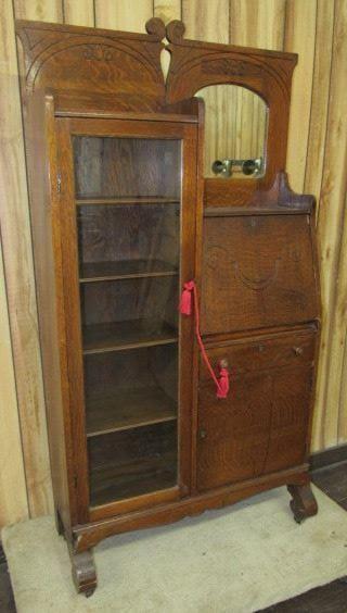 Oak Side by Side Secretary Bookcase