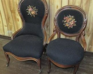 Victorian Needlepoint Parlor Chairs