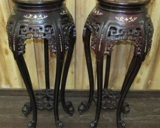 Mahogany Plant Stands w/Mother of Pearl Inlay