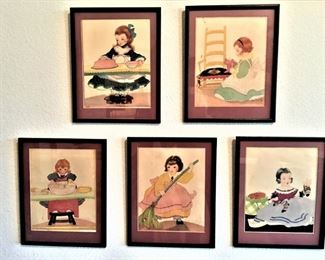 Set of Five Prints by Fern Bisel Peat 12 x 14    Circa 1934  1-Girl Icing Cake, 2-Girl Polishing Furnture, 3-Girl Washing Dishes, 4-Girl Sweeping, 5-Girl Darning Sox