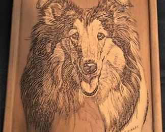 """Collie"" Wood Etching by E.H. Hart                                                  9.5 x 12"