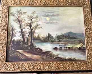"""Ruins on Lake"" by Ms. Wilkins Simpson                                       Georgetown, TX 1900                                                                              28.5 x 21"