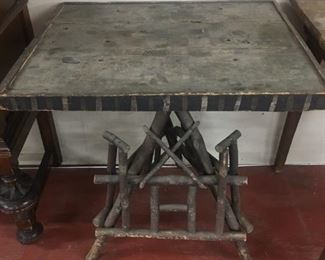 Old Primitive Tramp Art Stick Table