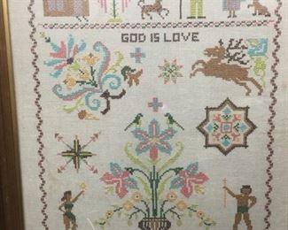 """""""God is Love"""" Framed Sampler"""