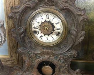 Old Art Nouveau Metal Mantle Clock