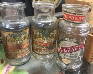 Early Paper Label Chow Chow Jars and Reliance Fruit Preserves Jar