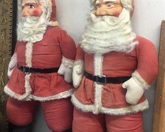 Two Old Cloth Face Santas