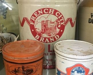 Old Lard Cans(French City, Open Kettle and White Seal/Salisbury, N.C.)