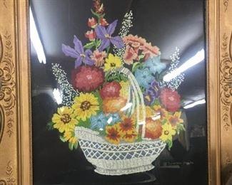 Signed Gesso Framed Floral Bouquet