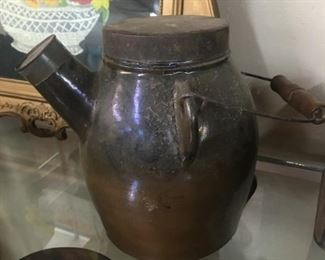 Early Batter Jug with Metal Lid