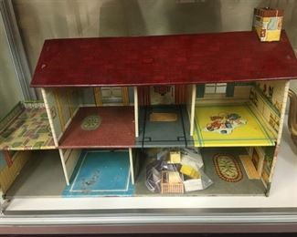 Tin Lithograph Doll House with Furniture