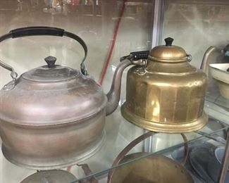 Old Brass and Copper Kettles(Gooseneck)