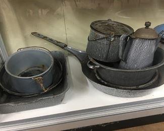 Graniteware Pots,Pan, Coffee Pot and Berry Bucket