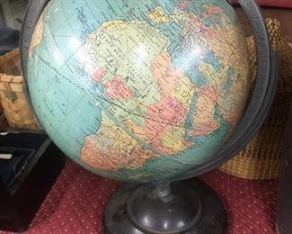 Old Tin Litho Globe
