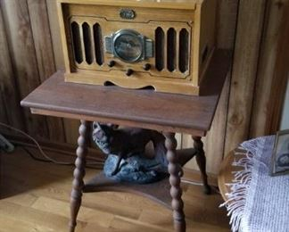 Oak side table.  Record player