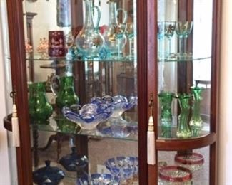 Display cabinet with cut crystal and collectible glass